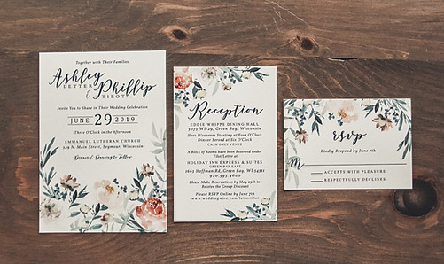 Green Field of Blooms Invitation Suite