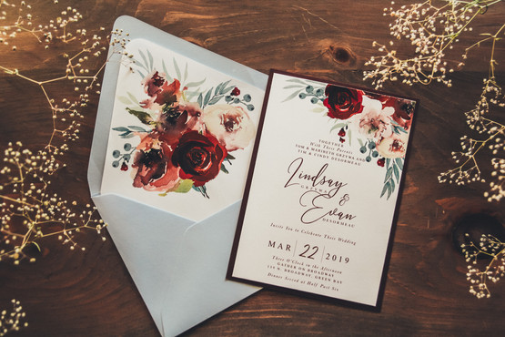 Baby Blue & Wine Floral Invite