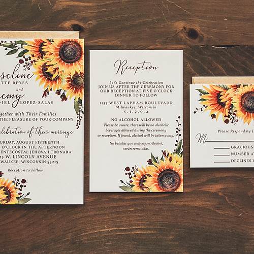 Sunflower Patch Wedding Invitation Suite