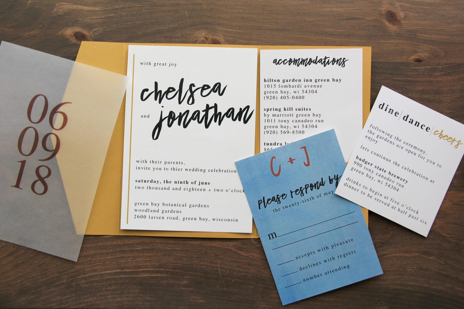 Modern Mustard Wedding Invitation