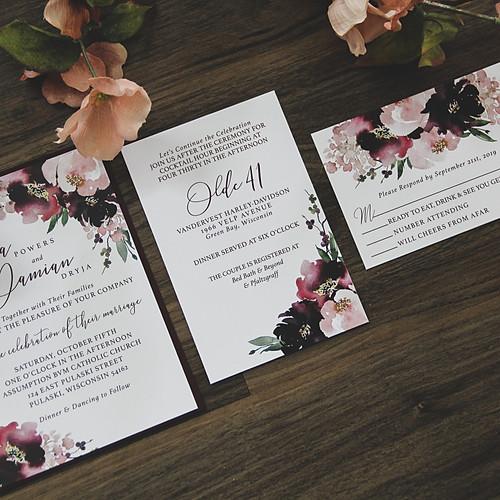 Berry Blooms Wedding Invitation Suite