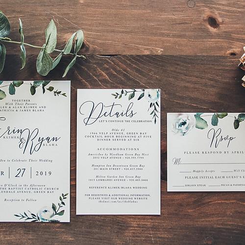 Modern Eucalyptus White Wedding Suite