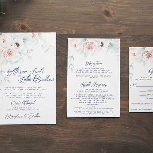 Pink Garden Wedding Invitation Suite