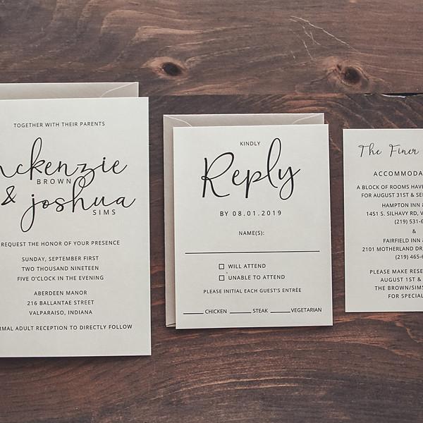 Simple Script Wedding Invitation Suite