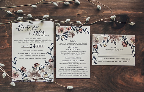 Navy Field of Blooms Invitation Suite