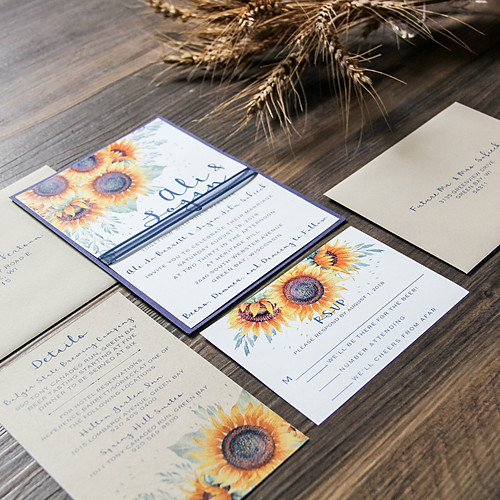 Navy Sunnies Wedding Invitation Suite