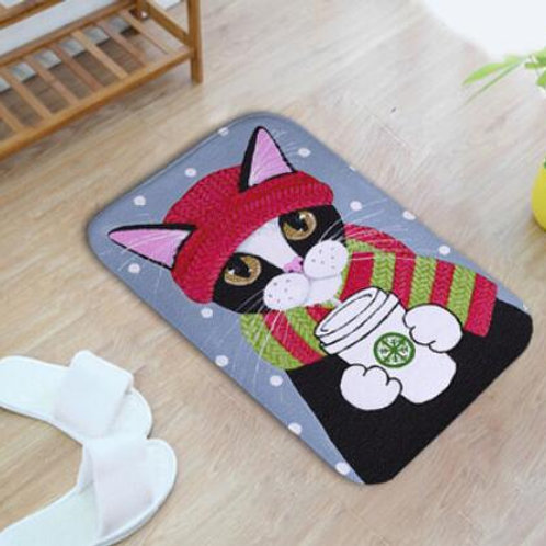 Soft Cute Cats Flannel Doormat Slip-Resistant