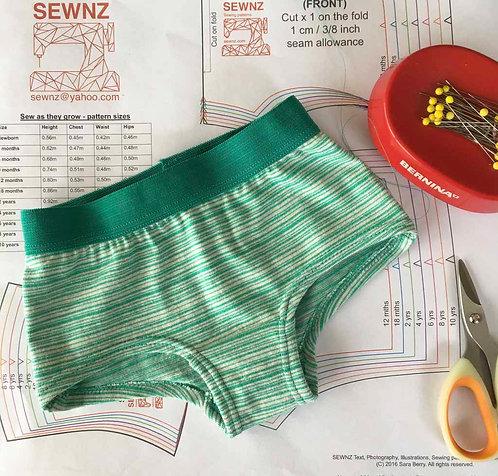 Girls Boy Leg Brief- sizes 1-10 yrs- PDF pattern