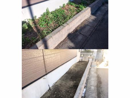 四日市にて花壇抜根作業