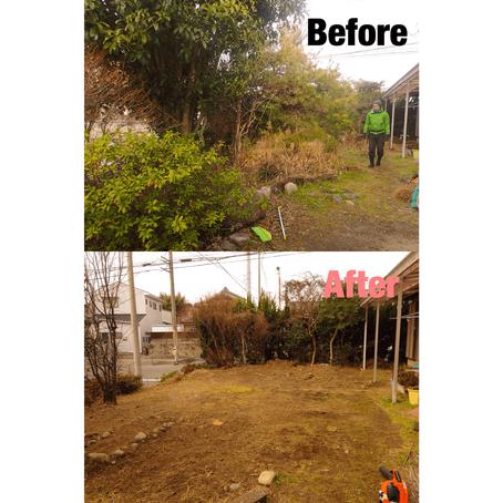 桑名市草刈り伐採 お庭の雑草対策草刈り作業