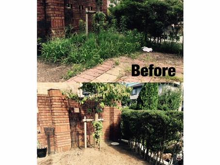 花壇部分の雑草手取り除草