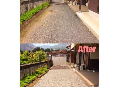 三重県砂利敷き|お庭の砂利敷き作業