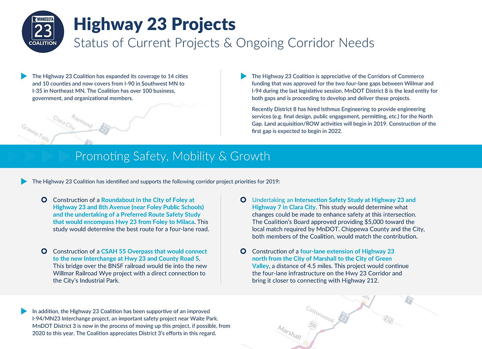 Highway 23 Coalition 2019 Priority Proje