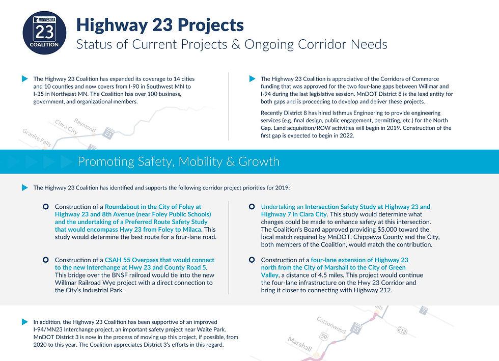 Highway 23 Coalition 2019 Priority Proje