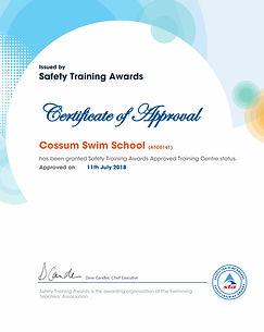 Cossum Swim School  Certificate of appro