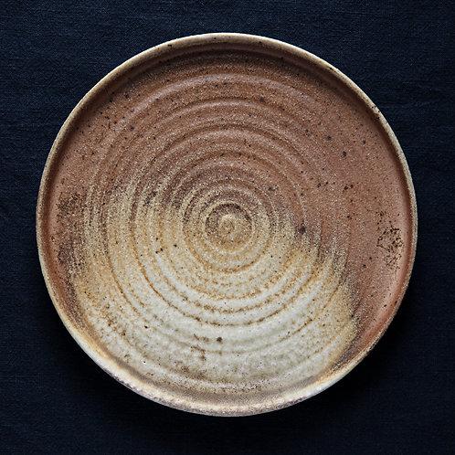 Плоская тарелка с кругами, дровяной обжиг