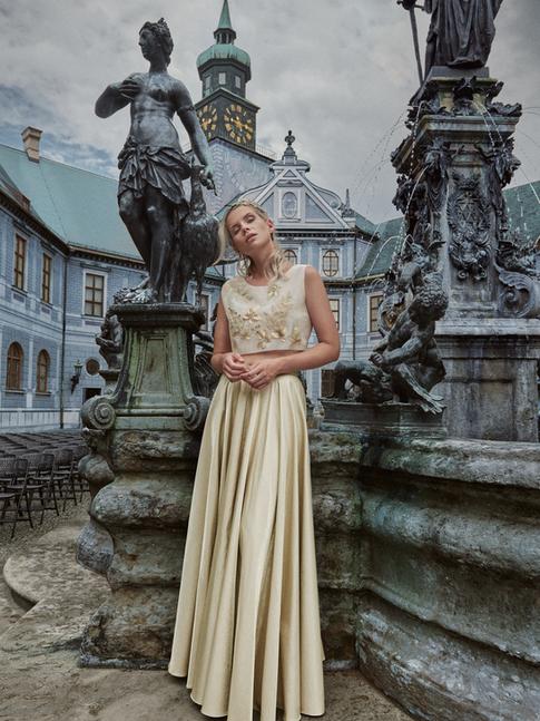 Brautkleid Zweiteiler, ecru - gold