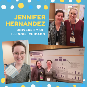 Collage of pictures featuring Jennifer at the conference