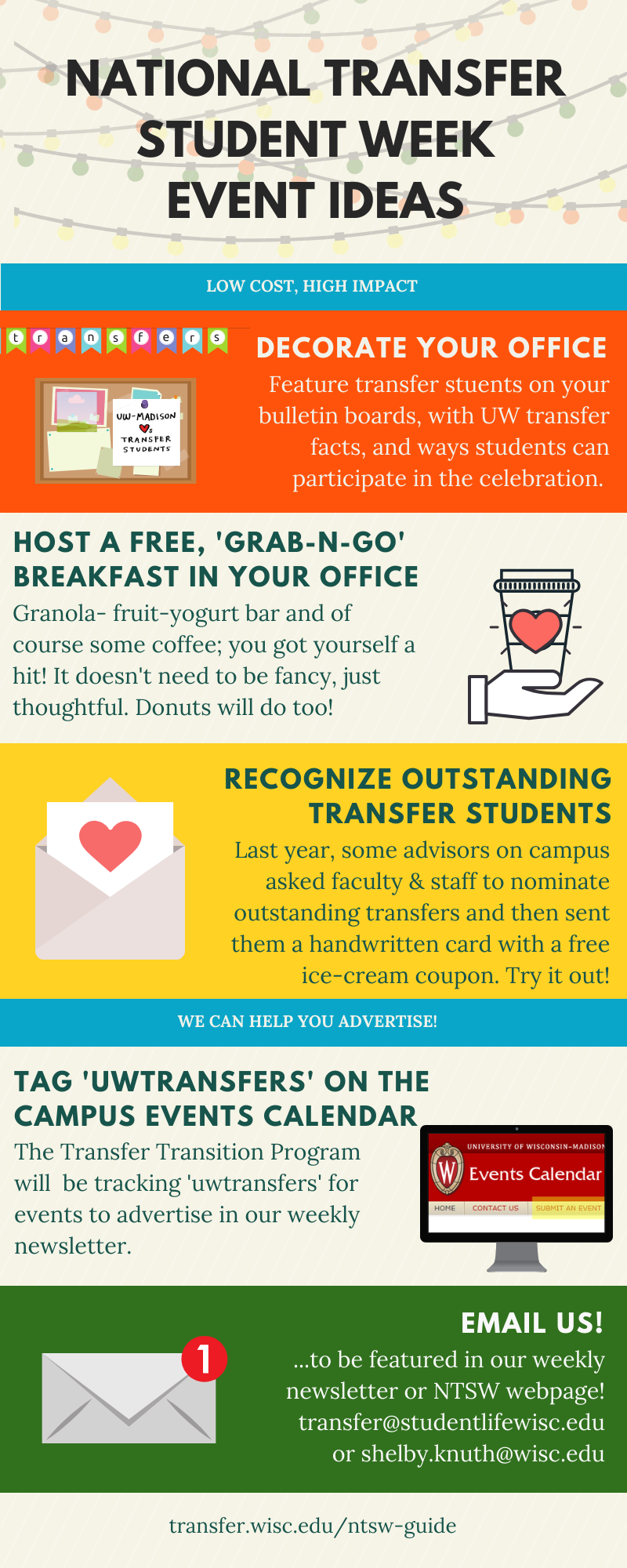 The colorful graphic lists several suggestions for NTSW events, such as decorate your office, host a breakfast, and recognize outstanding transfer students.