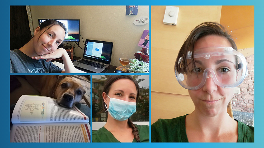Collage of Emily doing student things, such as studying at her desk, wearing a face mask on campus, petting her dog whose head is resting on her textbook, and wearing lab safety goggles.