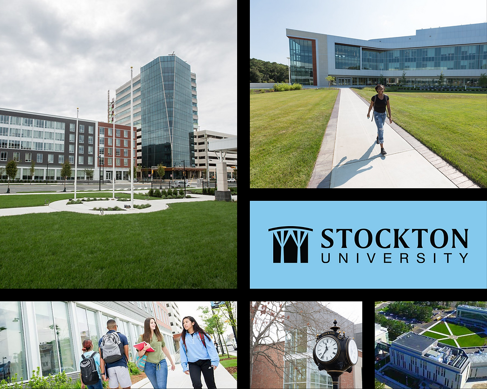 A collage of photos from Stockton University, including campus buildings and students walking.