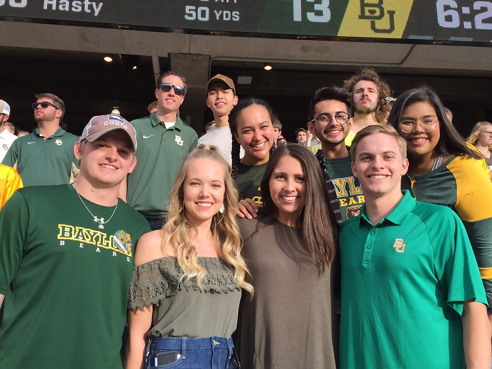 Bianca with friends at a Baylor football game