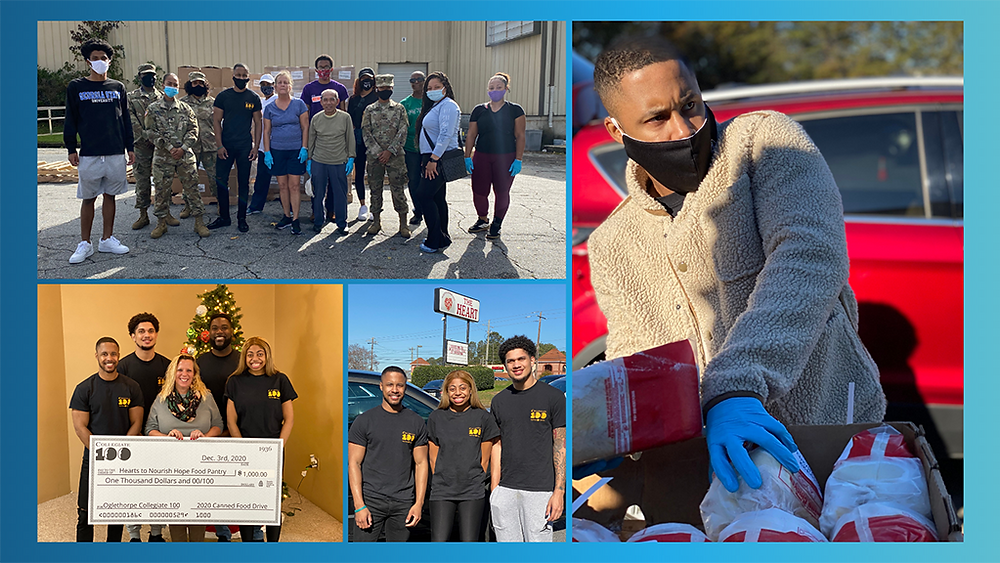 Collage of photos featuring Michael volunteering during the pandemic. One photo shows him wearing a mask and handing out food. Another shows Michael standing with twelve other student volunteers posing for a group photo. The remaining two photos feature Michael with other members of Collegiate 100.  In one photo, they're accepting a large format donation check. In the other, they're standing in front of the Hearts to Nourish Hope food pantry sign.