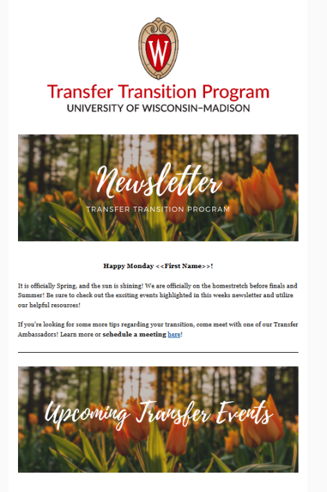 A screen shot of the Transfer Transition Programs newsletter, which addresses students by name and points them to upcoming transfer events.