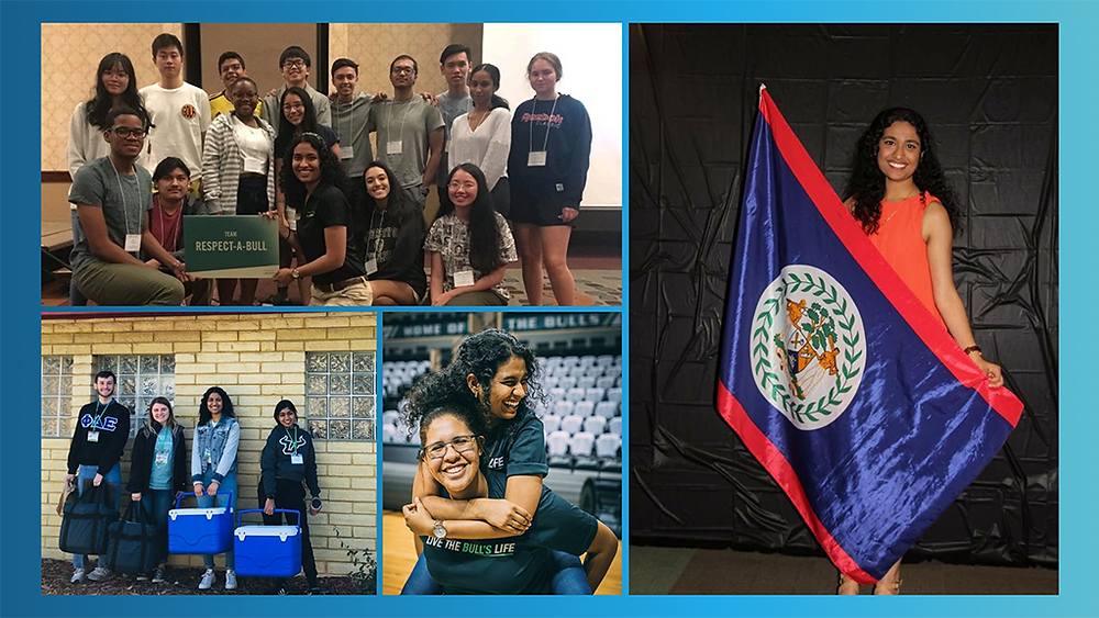photo collage of Dipti engaging in various campus events--one is Respect-A-Bull and others include other students with the national honor society