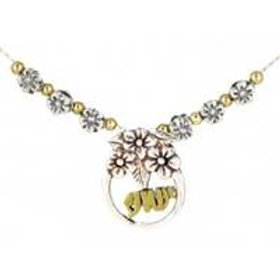 Sterling Silver Necklace w/Gold fill letters and beads