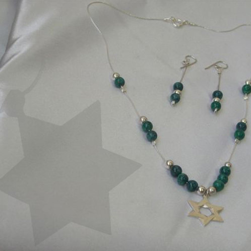 Star of David necklace,earring set