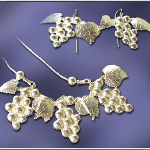 """""""The Vine"""" Silver Necklace and Earring Set"""