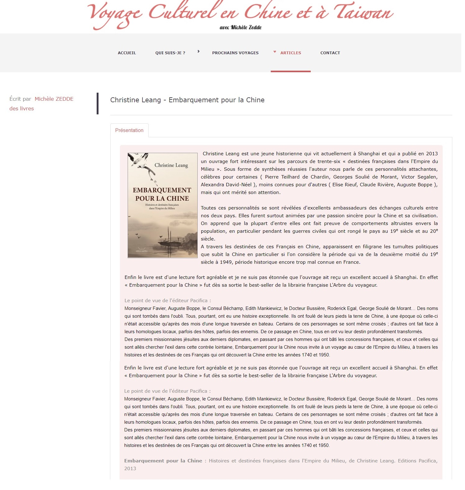 Voyage en Chine par Michèle Zedde