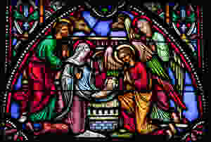Nativity scene on stained glass.