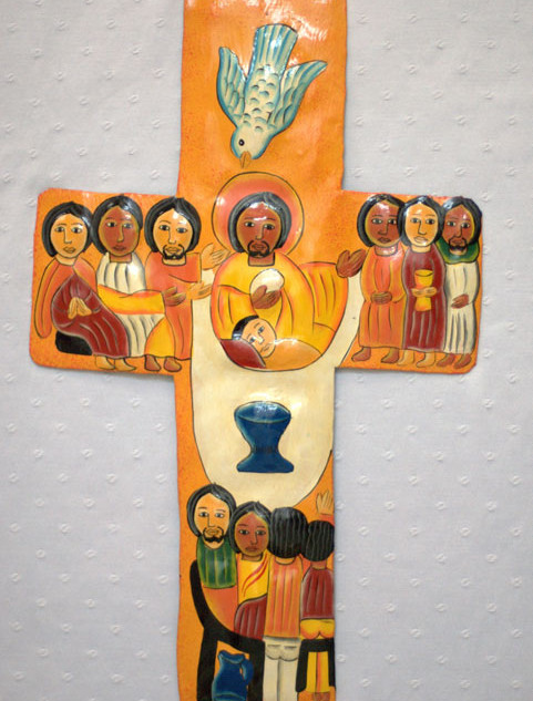Painted Cross Depicting Last Supper