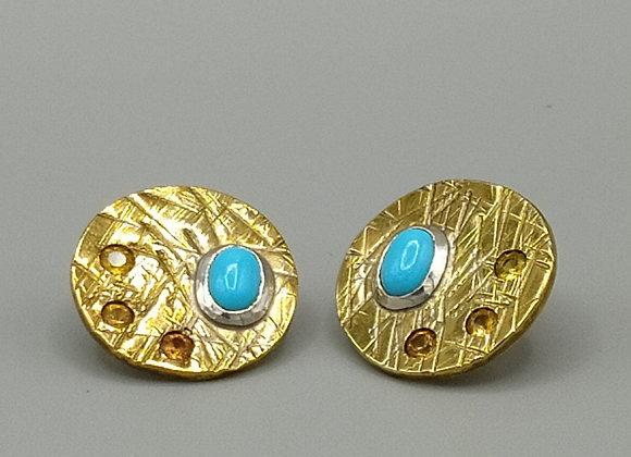 Paire de boucles d'oreilles rondes laiton, argent 925°, turquoises, oxydes de