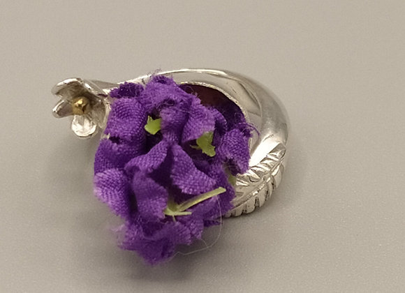 Bague argent 925°, bouquet de violettes