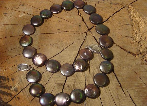 Collier ras de cou, perles baroques naturelles grises