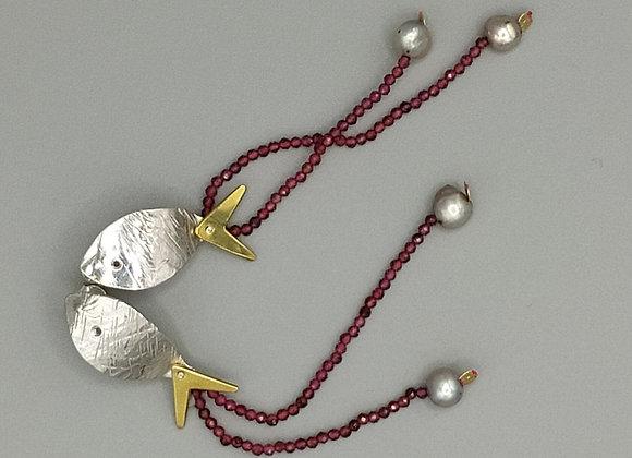 Pendants d'oreilles poisson, argent 925°, spinelles roses, perles de culture