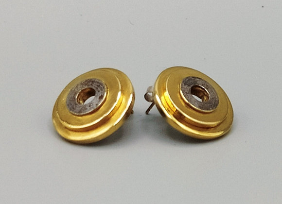 Boucles d'oreilles rondes, laiton, argent massif, dorure or fin 5 micron