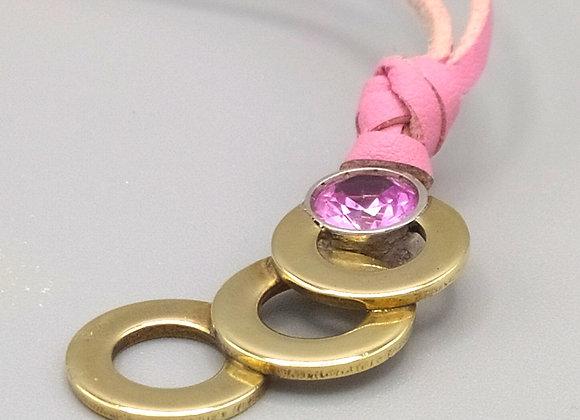 Pendentif sphérique en laiton, pierre rose sur serti argent massif
