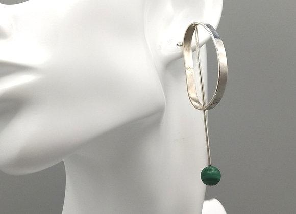 Boucles d'oreilles argent 925°,  malachites