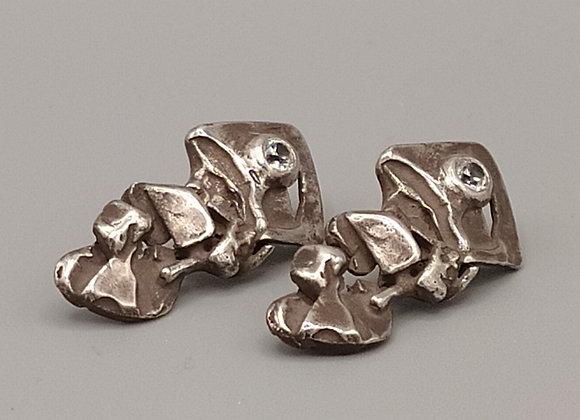 Boucles d'oreilles argent massif 925, oxydes de zirconium
