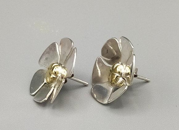 Boucles d'oreilles fleurs, argent, laiton