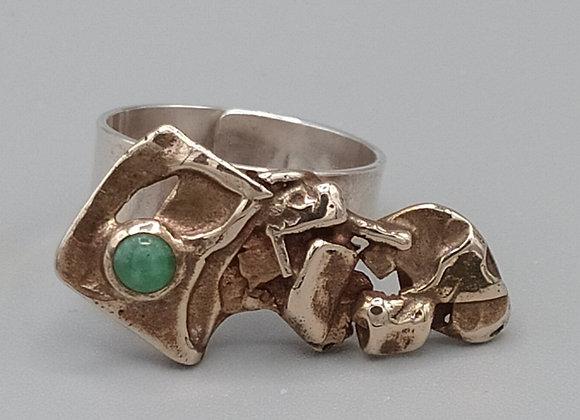 Bague contemporaine argent, laiton, jade
