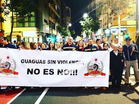 El sindicato Unificado de Guaguas se moviliza contra la violencia de género.