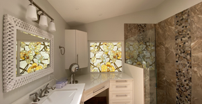 Brighten your bathroom or kitchen cabinets with the lively stained glass windows