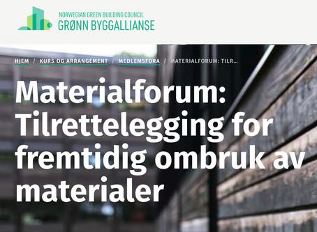 HØINE BIDRAR PÅ MATERIALFORUM 8. MAI FOR GRØNN BYGGALLIANSE