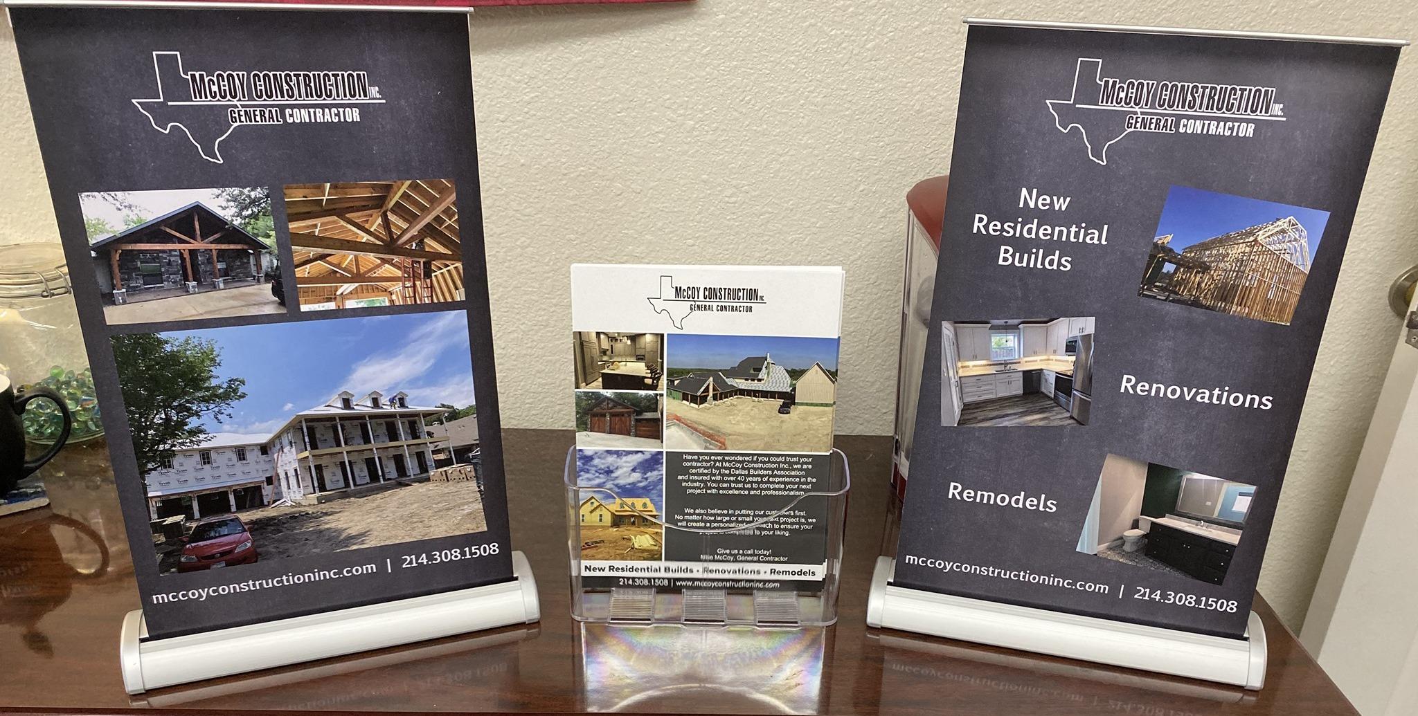 McCoy Construction Inc. Print Materials