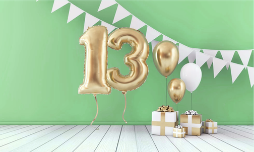 13 birthday balloons and presents
